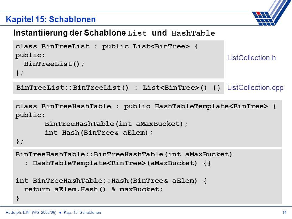 Rudolph: EINI (WS 2005/06) Kap. 15: Schablonen14 Kapitel 15: Schablonen Instantiierung der Schablone List und HashTable class BinTreeList : public Lis