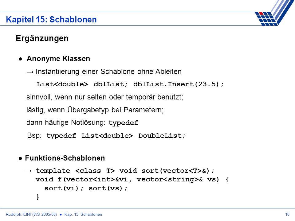 Rudolph: EINI (WS 2005/06) Kap. 15: Schablonen16 Kapitel 15: Schablonen Ergänzungen Anonyme Klassen Instantiierung einer Schablone ohne Ableiten List