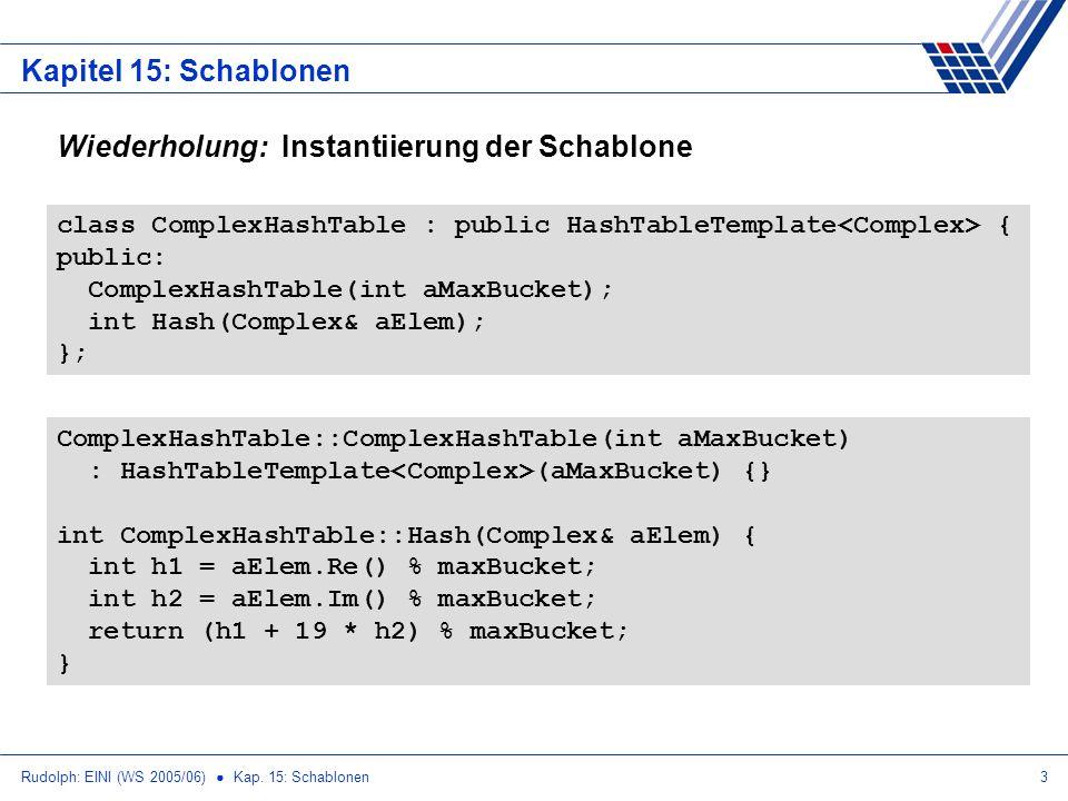 Rudolph: EINI (WS 2005/06) Kap. 15: Schablonen3 Kapitel 15: Schablonen Wiederholung: Instantiierung der Schablone class ComplexHashTable : public Hash
