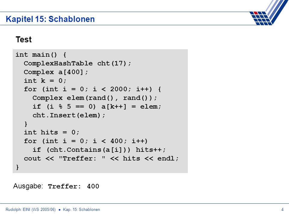 Rudolph: EINI (WS 2005/06) Kap. 15: Schablonen4 Kapitel 15: Schablonen Test int main() { ComplexHashTable cht(17); Complex a[400]; int k = 0; for (int