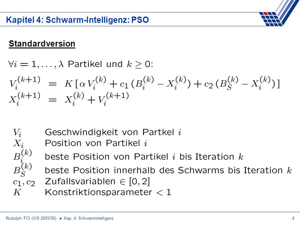 Rudolph: FCI (WS 2005/06) Kap. 4: Schwarmintelligenz5 Kapitel 4: Schwarm-Intelligenz: PSO