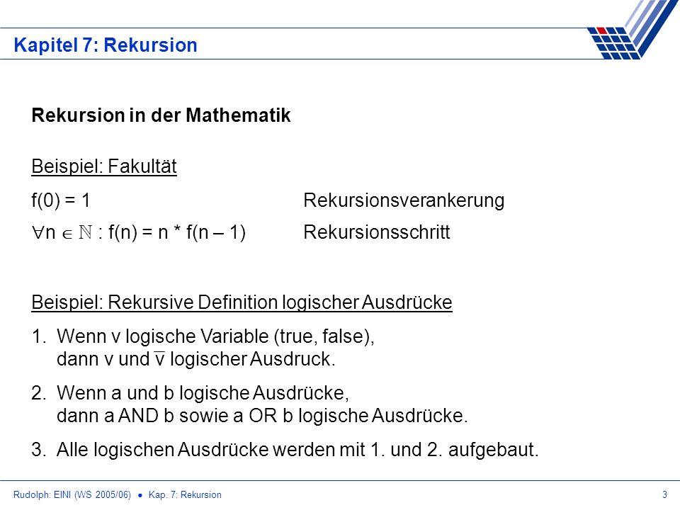 Rudolph: EINI (WS 2005/06) Kap. 7: Rekursion3 Kapitel 7: Rekursion Rekursion in der Mathematik Beispiel: Fakultät f(0) = 1Rekursionsverankerung n N :