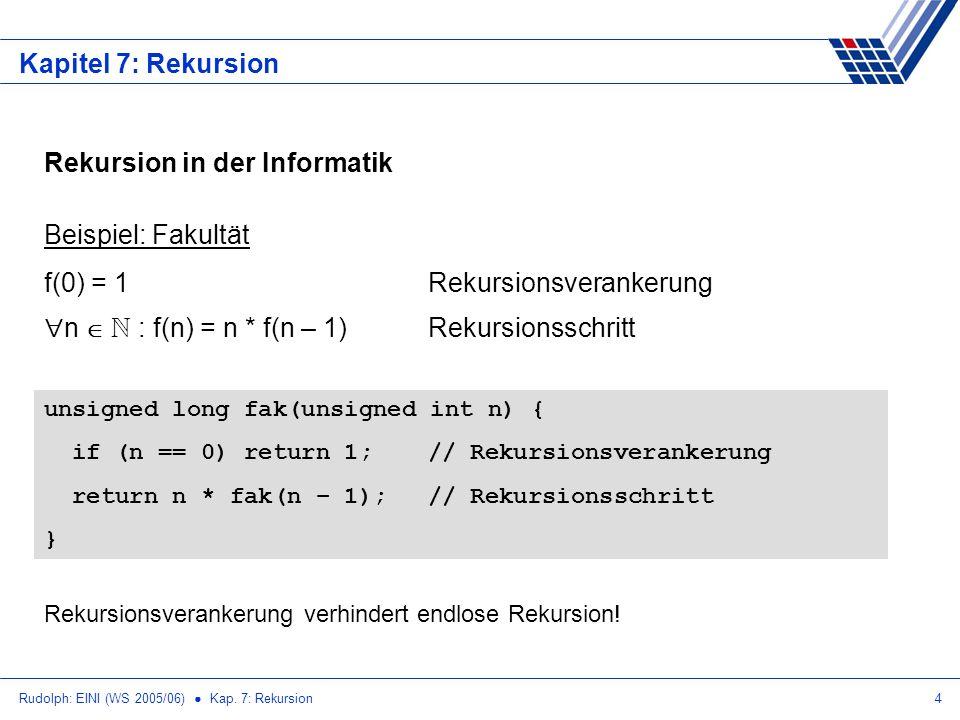 Rudolph: EINI (WS 2005/06) Kap. 7: Rekursion4 Kapitel 7: Rekursion Rekursion in der Informatik Beispiel: Fakultät f(0) = 1Rekursionsverankerung n N :