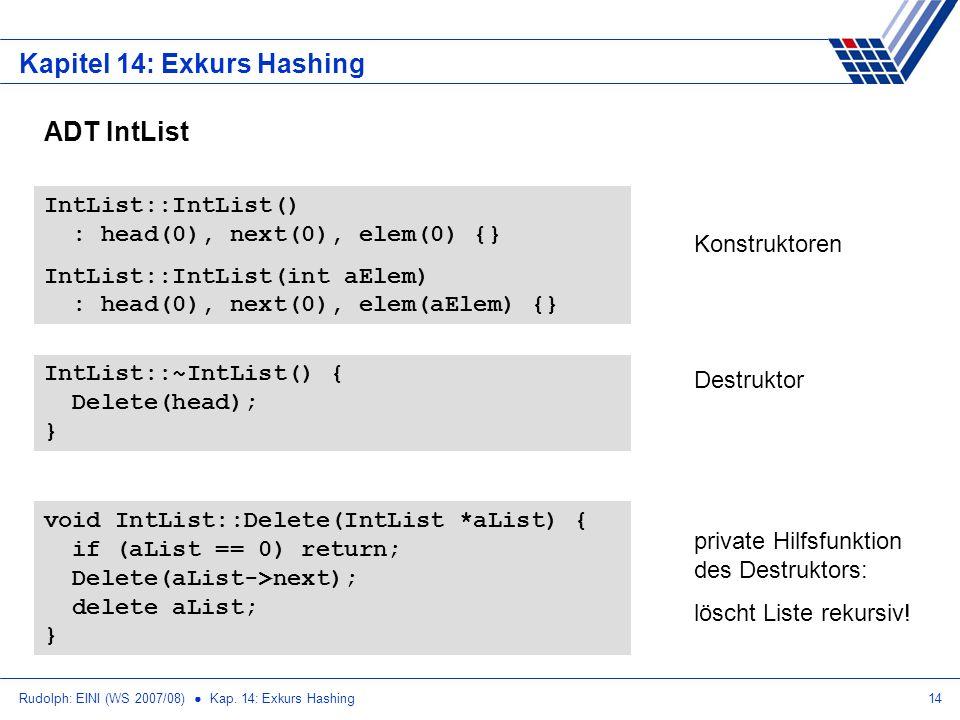 Rudolph: EINI (WS 2007/08) Kap. 14: Exkurs Hashing14 Kapitel 14: Exkurs Hashing ADT IntList IntList::IntList() : head(0), next(0), elem(0) {} IntList: