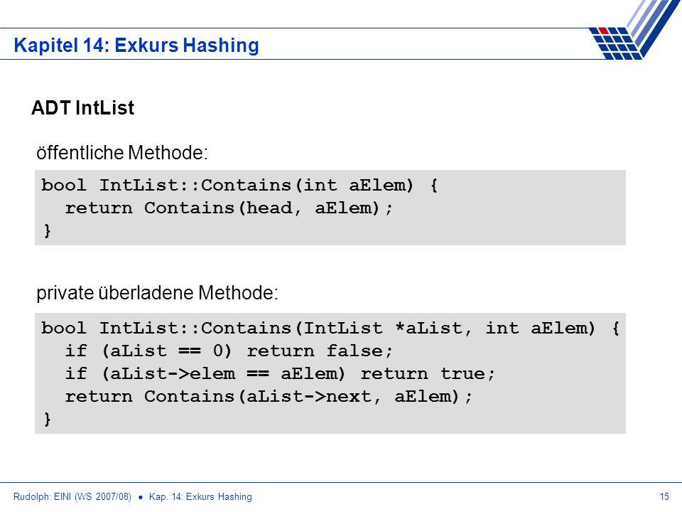 Rudolph: EINI (WS 2007/08) Kap. 14: Exkurs Hashing15 Kapitel 14: Exkurs Hashing ADT IntList bool IntList::Contains(IntList *aList, int aElem) { if (aL