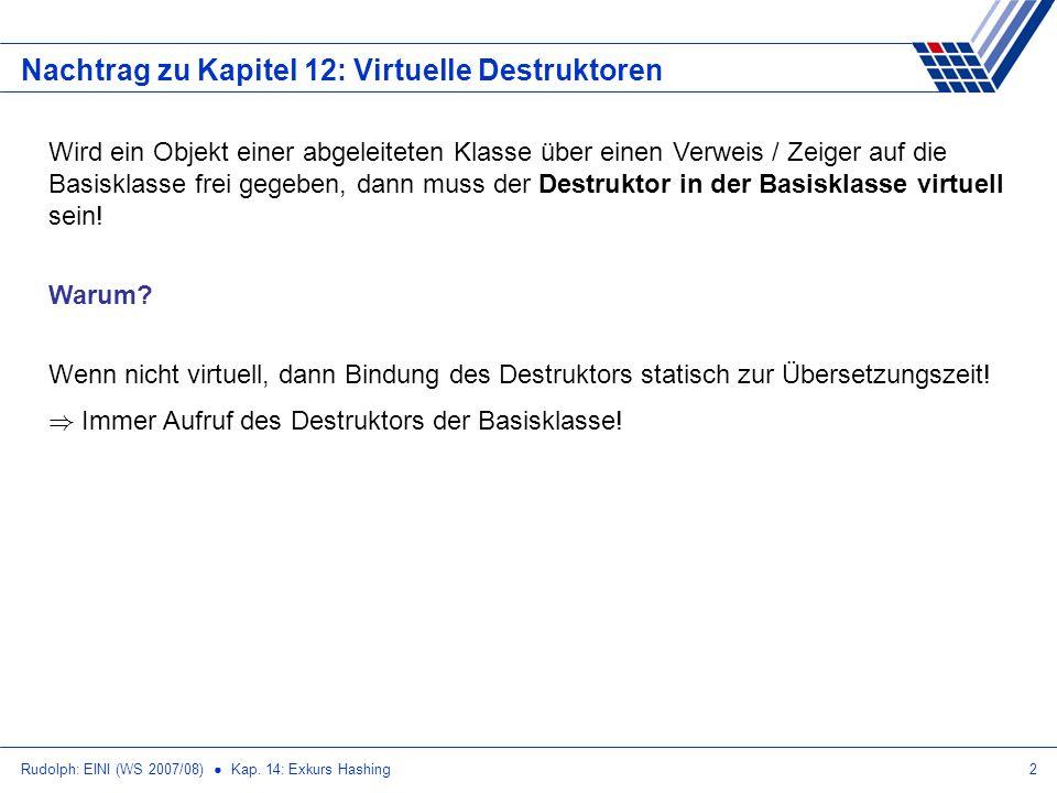 Rudolph: EINI (WS 2007/08) Kap. 14: Exkurs Hashing2 Nachtrag zu Kapitel 12: Virtuelle Destruktoren Wird ein Objekt einer abgeleiteten Klasse über eine