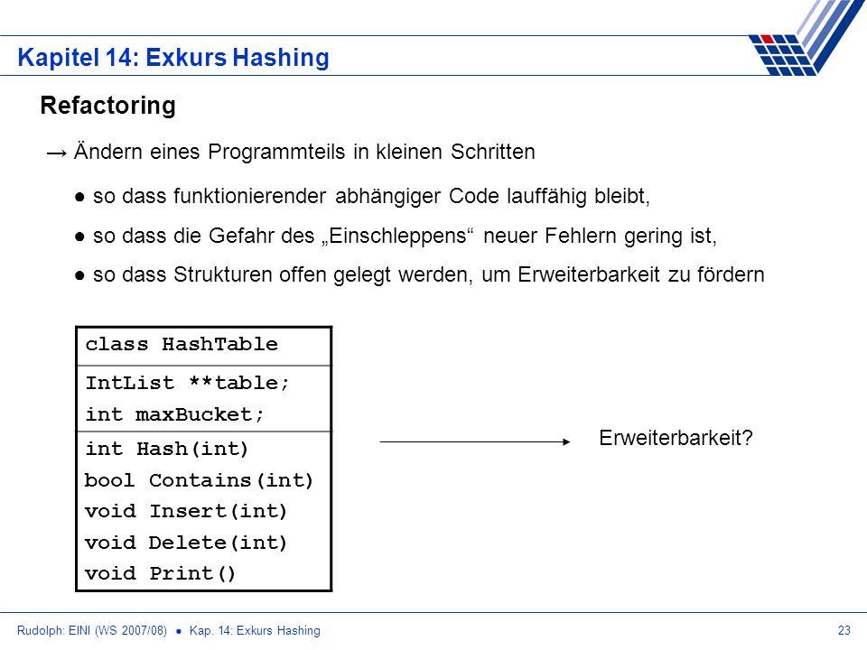 Rudolph: EINI (WS 2007/08) Kap. 14: Exkurs Hashing23 Kapitel 14: Exkurs Hashing Refactoring Ändern eines Programmteils in kleinen Schritten so dass fu