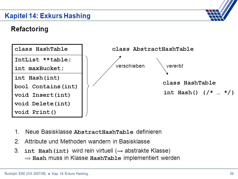 Rudolph: EINI (WS 2007/08) Kap. 14: Exkurs Hashing24 Kapitel 14: Exkurs Hashing Refactoring class HashTable IntList **table; int maxBucket; int Hash(i