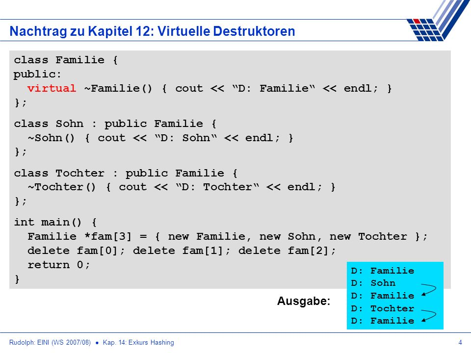 Rudolph: EINI (WS 2007/08) Kap. 14: Exkurs Hashing4 Nachtrag zu Kapitel 12: Virtuelle Destruktoren class Familie { public: virtual ~Familie() { cout <