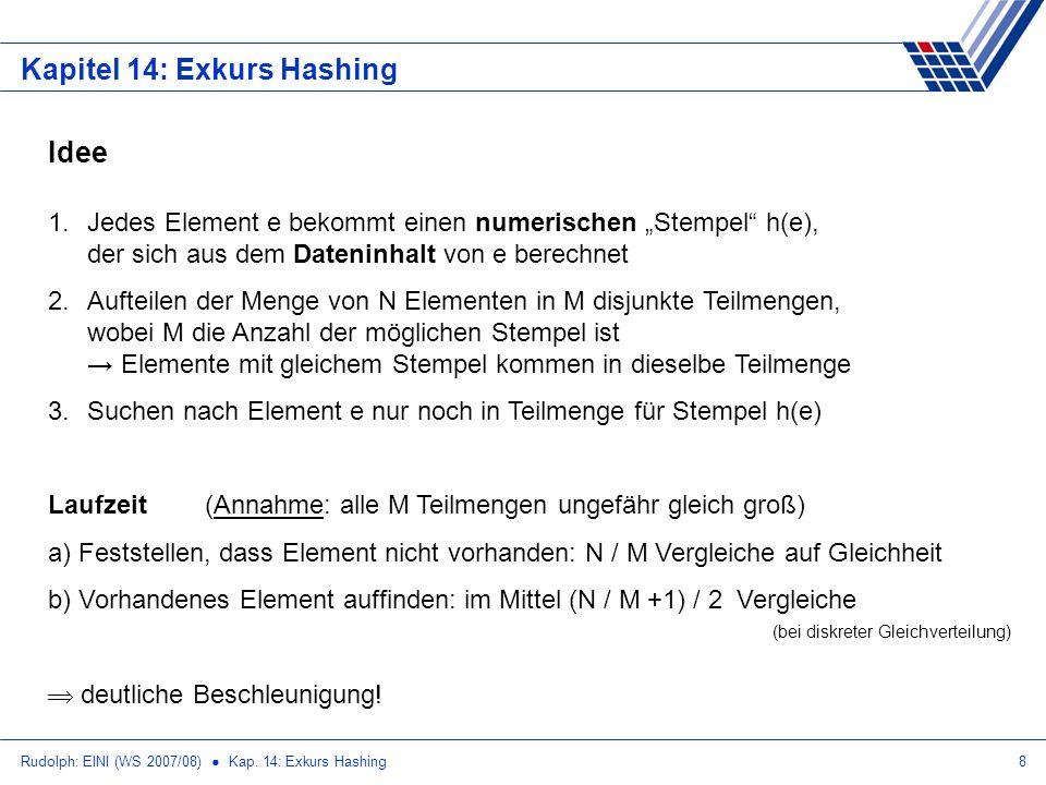 Rudolph: EINI (WS 2007/08) Kap. 14: Exkurs Hashing8 Kapitel 14: Exkurs Hashing Idee 1.Jedes Element e bekommt einen numerischen Stempel h(e), der sich