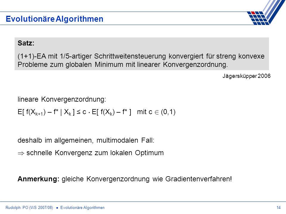 Rudolph: PO (WS 2007/08) Evolutionäre Algorithmen14 Evolutionäre Algorithmen Satz: (1+1)-EA mit 1/5-artiger Schrittweitensteuerung konvergiert für str