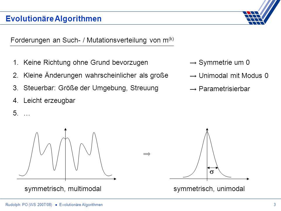 Rudolph: PO (WS 2007/08) Evolutionäre Algorithmen3 Forderungen an Such- / Mutationsverteilung von m (k) 1.Keine Richtung ohne Grund bevorzugen 2.Klein
