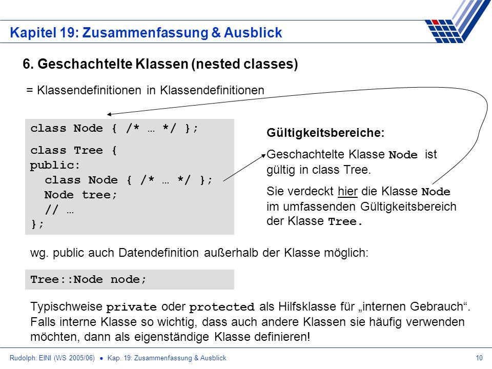 Rudolph: EINI (WS 2005/06) Kap. 19: Zusammenfassung & Ausblick10 Kapitel 19: Zusammenfassung & Ausblick 6. Geschachtelte Klassen (nested classes) = Kl