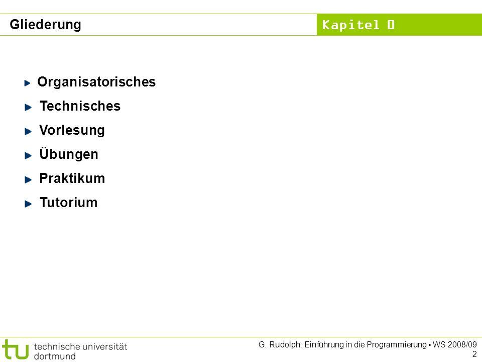 Kapitel 0 G.Rudolph: Einführung in die Programmierung WS 2008/09 3 Organisatorisches Dozent:Prof.
