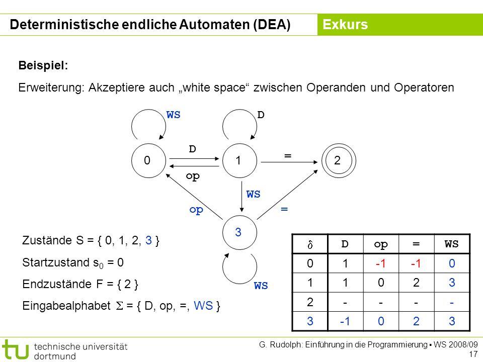 Kapitel 5 G. Rudolph: Einführung in die Programmierung WS 2008/09 17 Beispiel: Erweiterung: Akzeptiere auch white space zwischen Operanden und Operato