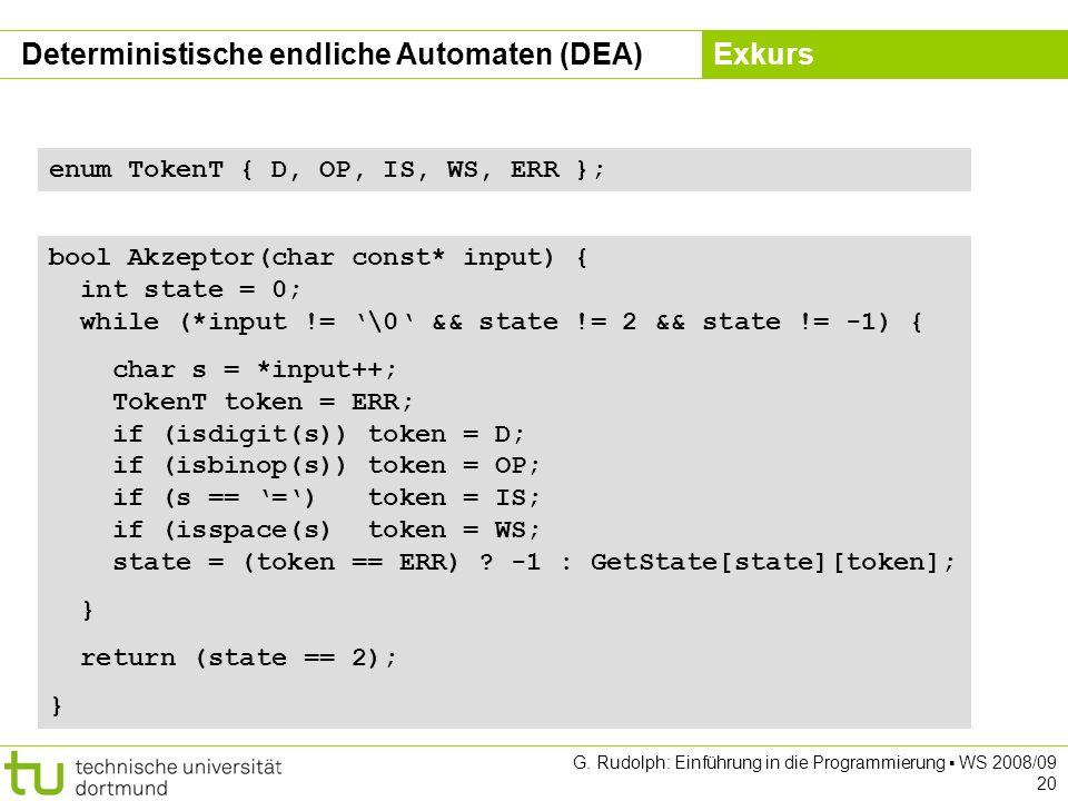 Kapitel 5 G. Rudolph: Einführung in die Programmierung WS 2008/09 20 bool Akzeptor(char const* input) { int state = 0; while (*input != \0 && state !=