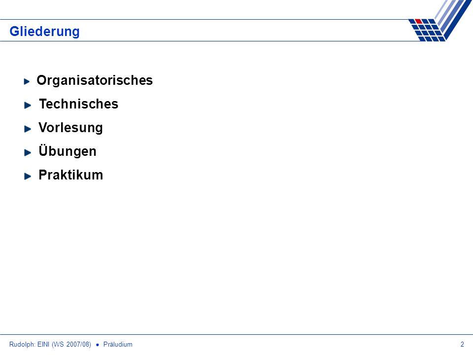 Rudolph: EINI (WS 2007/08) Präludium23 Internet Online-Zugriff Vorlesung, Übung und Praktikum haben eigene Webseiten Untereinander verlinkt: (z.B.