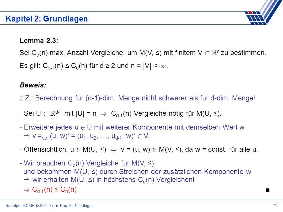 Rudolph: MOMH (SS 2006) Kap.2: Grundlagen14 Kapitel 2: Grundlagen Lemma 2.3: Sei C d (n) max.