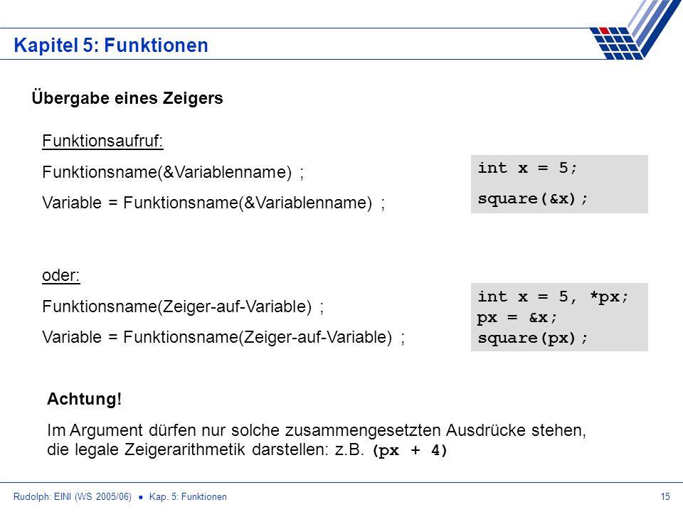 Rudolph: EINI (WS 2005/06) Kap. 5: Funktionen15 Kapitel 5: Funktionen Übergabe eines Zeigers Funktionsaufruf: Funktionsname(&Variablenname) ; Variable