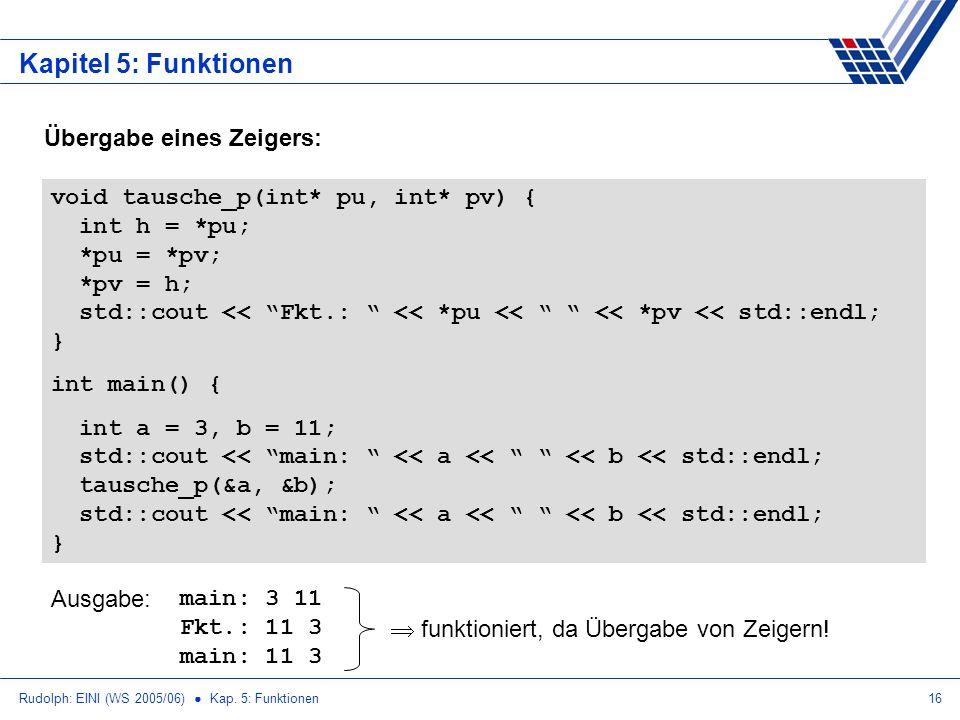 Rudolph: EINI (WS 2005/06) Kap. 5: Funktionen16 Kapitel 5: Funktionen Übergabe eines Zeigers: void tausche_p(int* pu, int* pv) { int h = *pu; *pu = *p