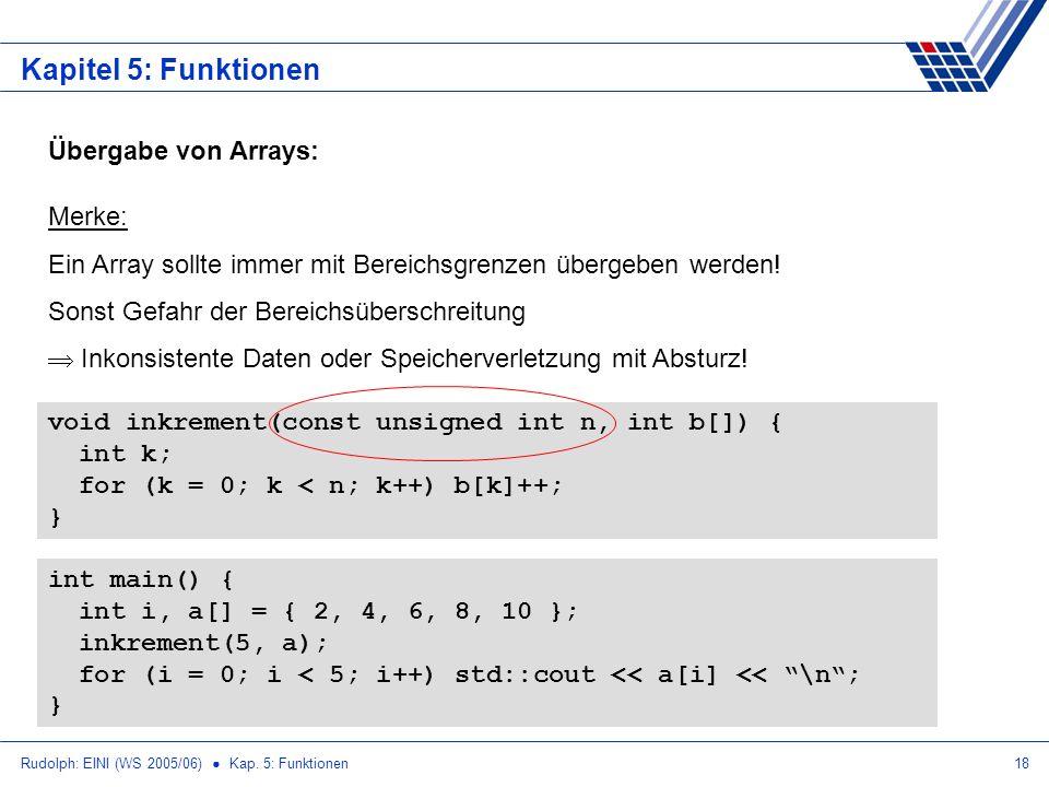 Rudolph: EINI (WS 2005/06) Kap. 5: Funktionen18 Kapitel 5: Funktionen Übergabe von Arrays: Merke: Ein Array sollte immer mit Bereichsgrenzen übergeben