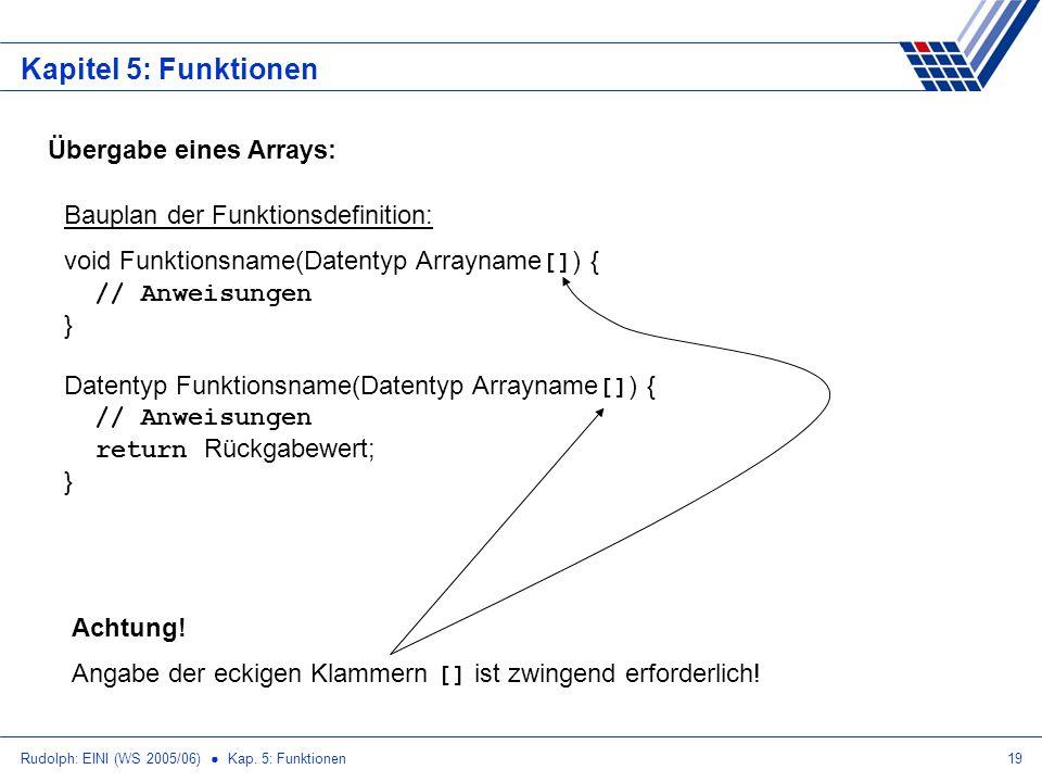 Rudolph: EINI (WS 2005/06) Kap. 5: Funktionen19 Kapitel 5: Funktionen Übergabe eines Arrays: Bauplan der Funktionsdefinition: void Funktionsname(Daten