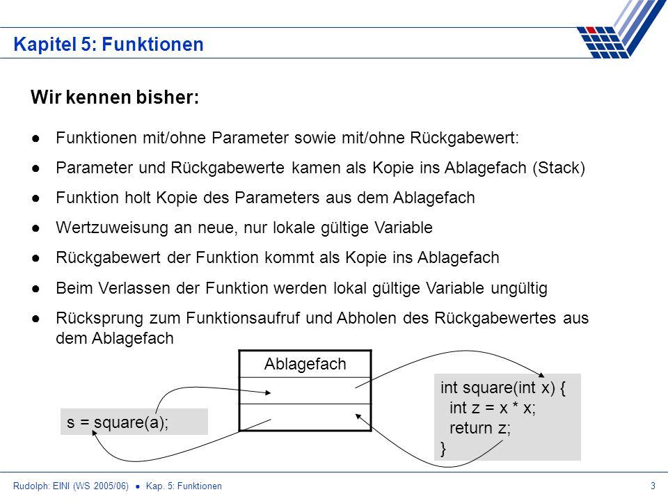 Rudolph: EINI (WS 2005/06) Kap. 5: Funktionen3 Kapitel 5: Funktionen Wir kennen bisher: Funktionen mit/ohne Parameter sowie mit/ohne Rückgabewert: Par