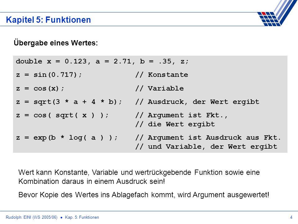 Rudolph: EINI (WS 2005/06) Kap. 5: Funktionen4 Kapitel 5: Funktionen Übergabe eines Wertes: double x = 0.123, a = 2.71, b =.35, z; z = sin(0.717);// K