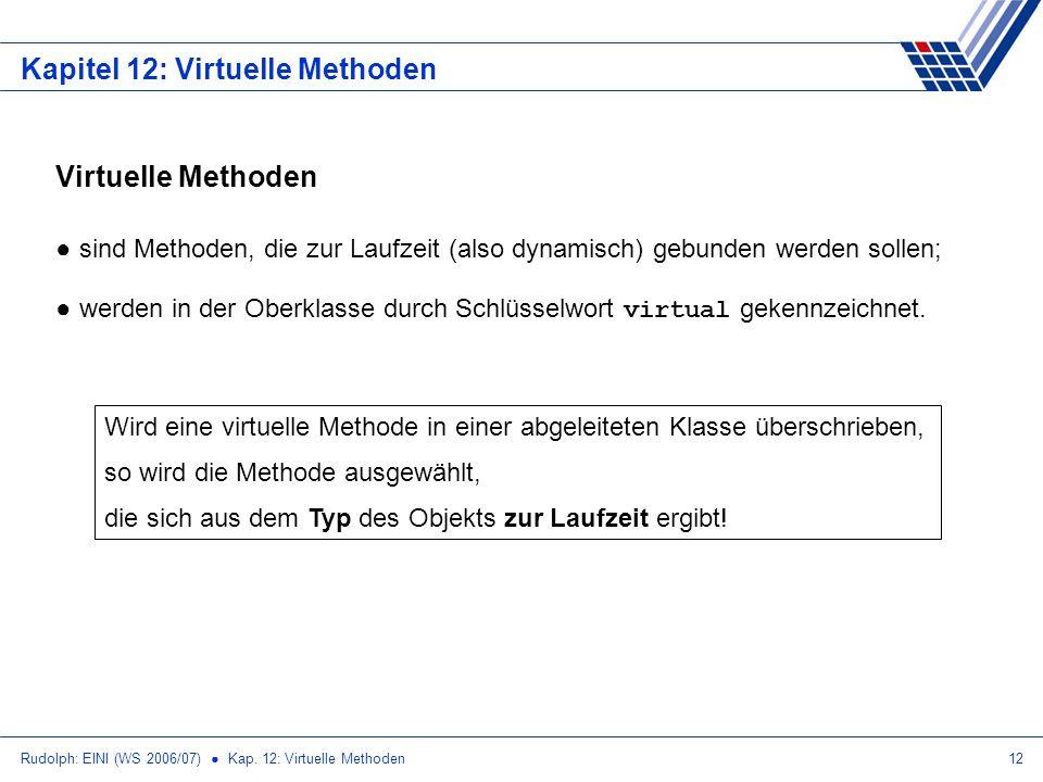 Rudolph: EINI (WS 2006/07) Kap. 12: Virtuelle Methoden12 Kapitel 12: Virtuelle Methoden Virtuelle Methoden sind Methoden, die zur Laufzeit (also dynam