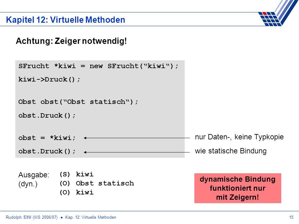 Rudolph: EINI (WS 2006/07) Kap. 12: Virtuelle Methoden15 Kapitel 12: Virtuelle Methoden Achtung: Zeiger notwendig! SFrucht *kiwi = new SFrucht(kiwi);
