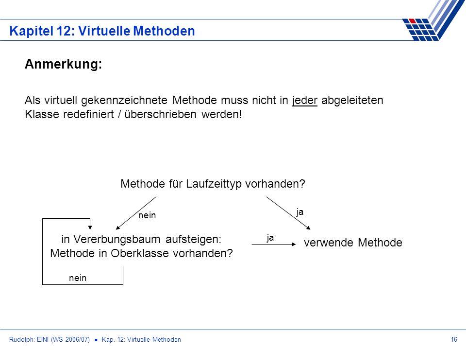 Rudolph: EINI (WS 2006/07) Kap. 12: Virtuelle Methoden16 Kapitel 12: Virtuelle Methoden Anmerkung: Als virtuell gekennzeichnete Methode muss nicht in