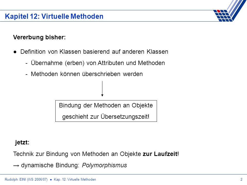 Rudolph: EINI (WS 2006/07) Kap. 12: Virtuelle Methoden2 Kapitel 12: Virtuelle Methoden Vererbung bisher: Definition von Klassen basierend auf anderen