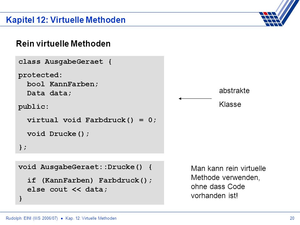 Rudolph: EINI (WS 2006/07) Kap. 12: Virtuelle Methoden20 Kapitel 12: Virtuelle Methoden Rein virtuelle Methoden class AusgabeGeraet { protected: bool