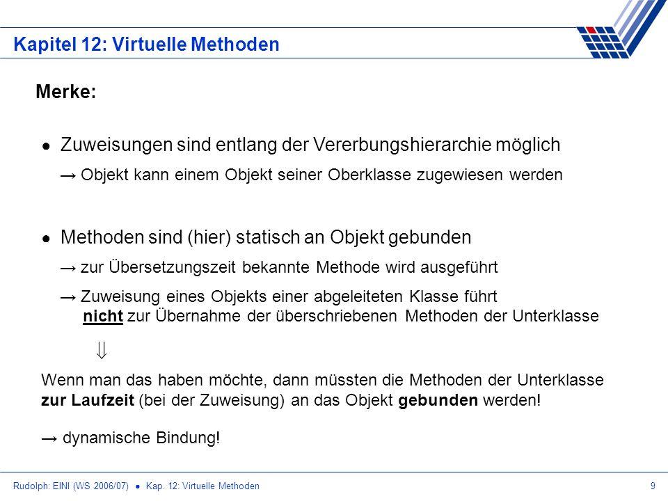 Rudolph: EINI (WS 2006/07) Kap. 12: Virtuelle Methoden9 Kapitel 12: Virtuelle Methoden Merke: Zuweisungen sind entlang der Vererbungshierarchie möglic