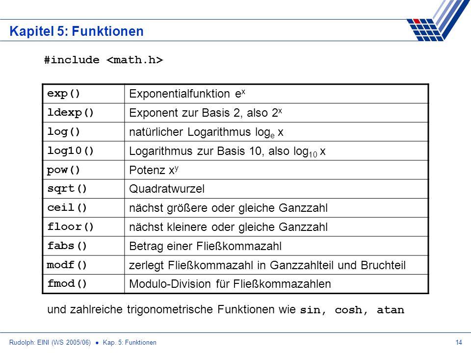 Rudolph: EINI (WS 2005/06) Kap. 5: Funktionen14 Kapitel 5: Funktionen exp() Exponentialfunktion e x ldexp() Exponent zur Basis 2, also 2 x log() natür