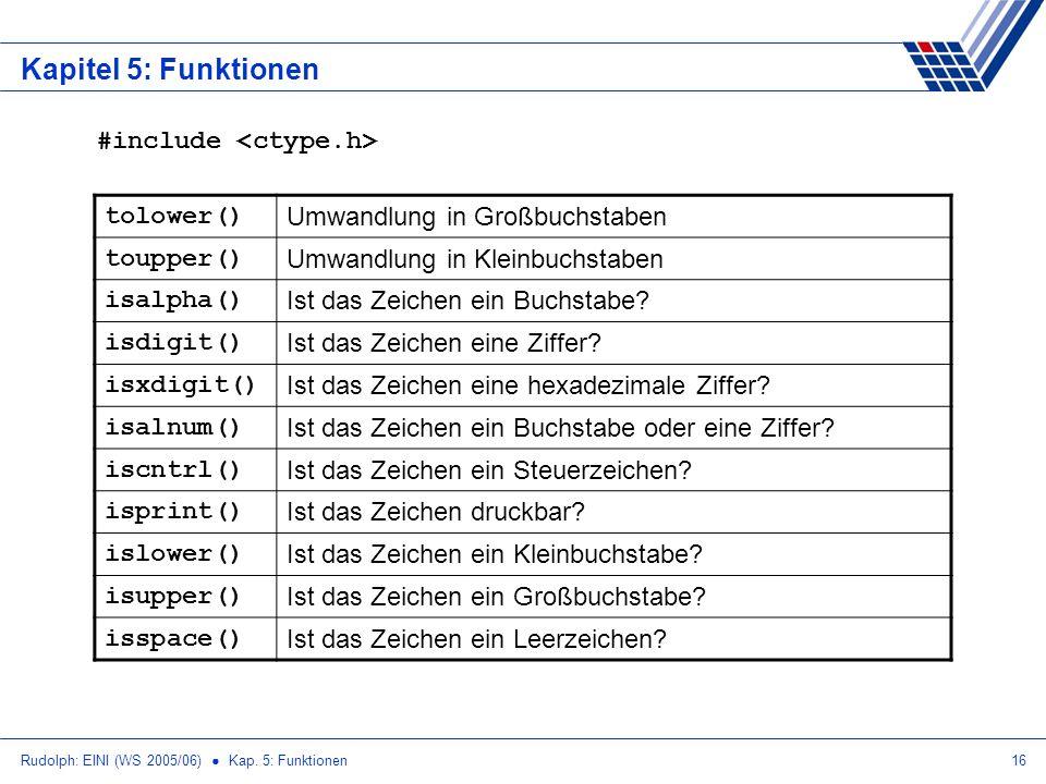 Rudolph: EINI (WS 2005/06) Kap. 5: Funktionen16 Kapitel 5: Funktionen tolower() Umwandlung in Großbuchstaben toupper() Umwandlung in Kleinbuchstaben i