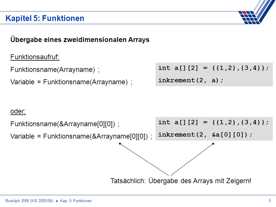 Rudolph: EINI (WS 2005/06) Kap. 5: Funktionen5 Kapitel 5: Funktionen Übergabe eines zweidimensionalen Arrays Funktionsaufruf: Funktionsname(Arrayname)