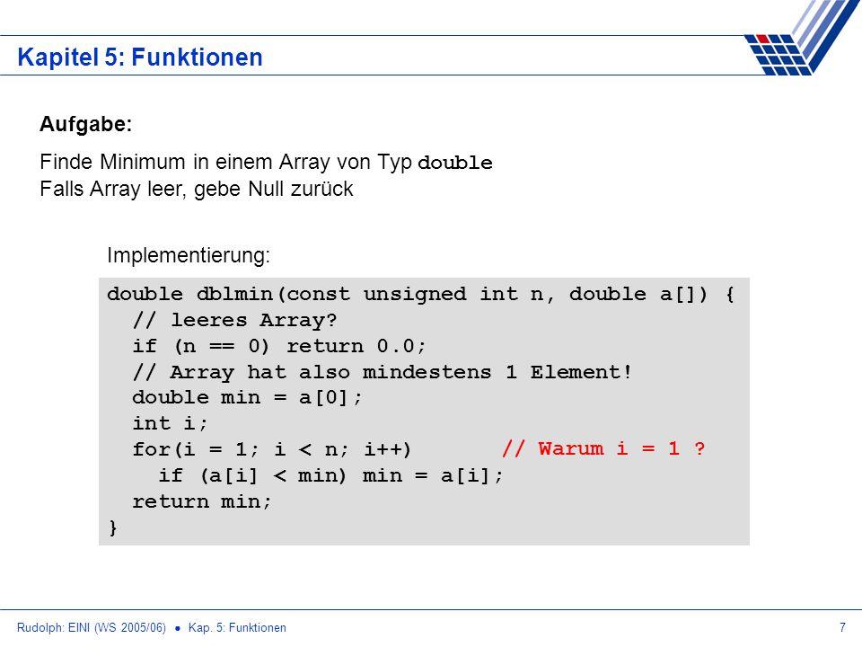 Rudolph: EINI (WS 2005/06) Kap. 5: Funktionen7 Kapitel 5: Funktionen Aufgabe: Finde Minimum in einem Array von Typ double Falls Array leer, gebe Null