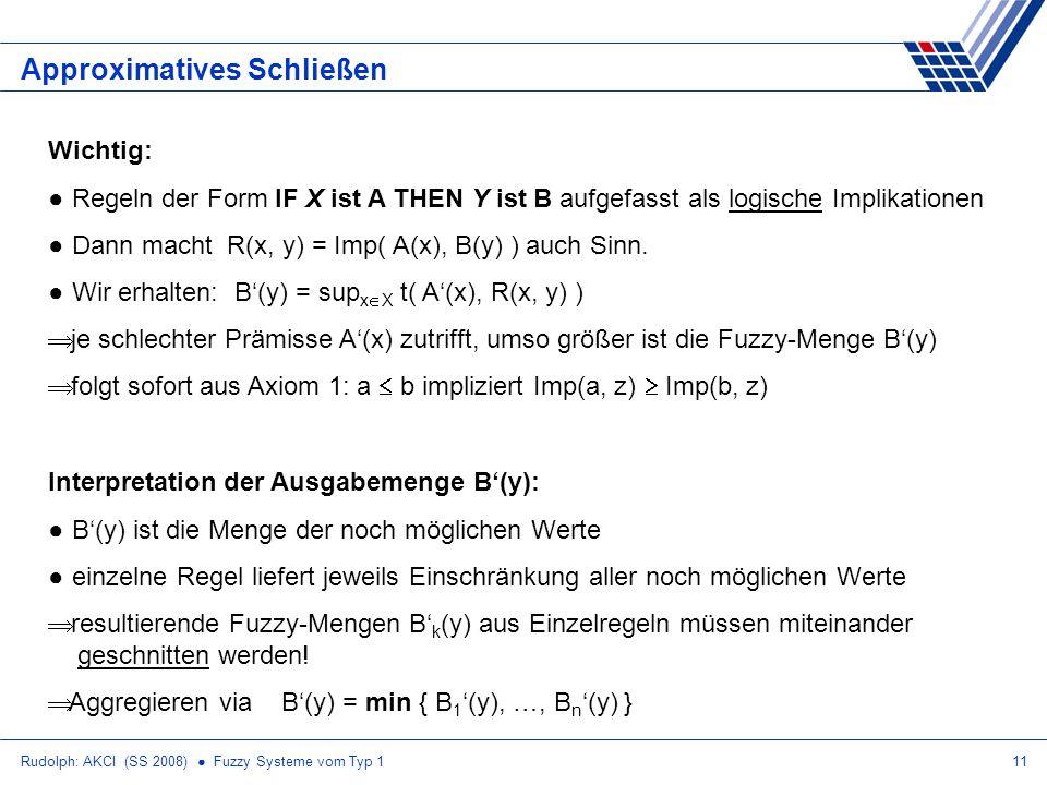 Rudolph: AKCI (SS 2008) Fuzzy Systeme vom Typ 111 Approximatives Schließen Wichtig: Regeln der Form IF X ist A THEN Y ist B aufgefasst als logische Implikationen Dann macht R(x, y) = Imp( A(x), B(y) ) auch Sinn.