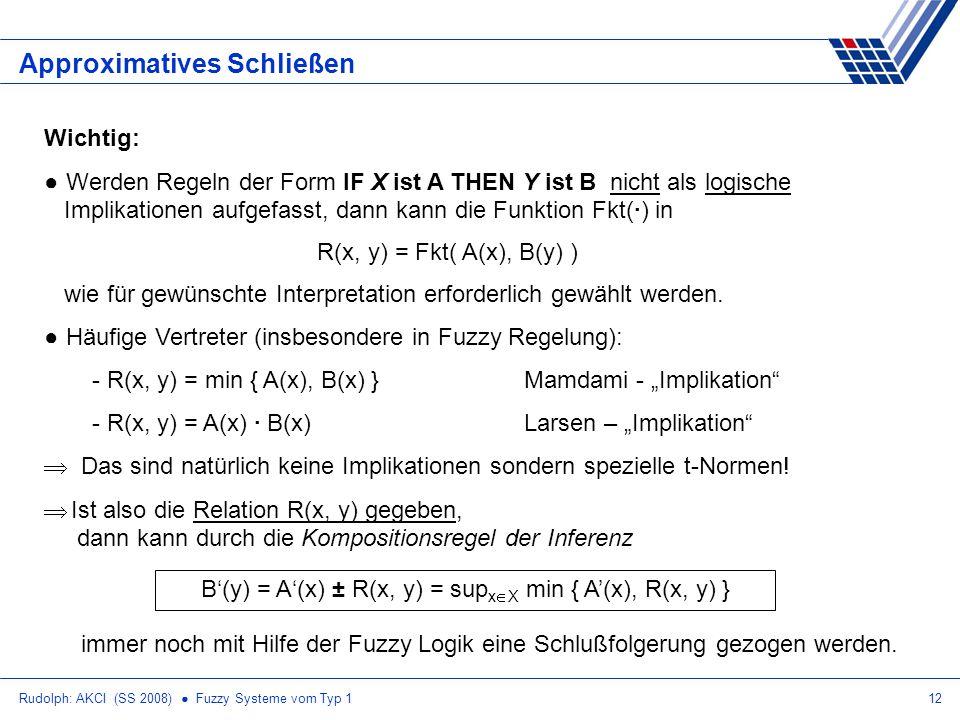 Rudolph: AKCI (SS 2008) Fuzzy Systeme vom Typ 112 Approximatives Schließen Wichtig: Werden Regeln der Form IF X ist A THEN Y ist B nicht als logische Implikationen aufgefasst, dann kann die Funktion Fkt(·) in R(x, y) = Fkt( A(x), B(y) ) wie für gewünschte Interpretation erforderlich gewählt werden.