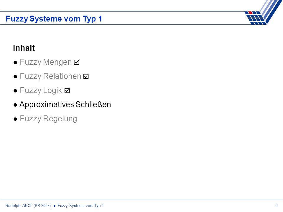 Rudolph: AKCI (SS 2008) Fuzzy Systeme vom Typ 123 Approximatives Schließen Imp(a, b) = 1 – a + a 2 b KnKn KvKv