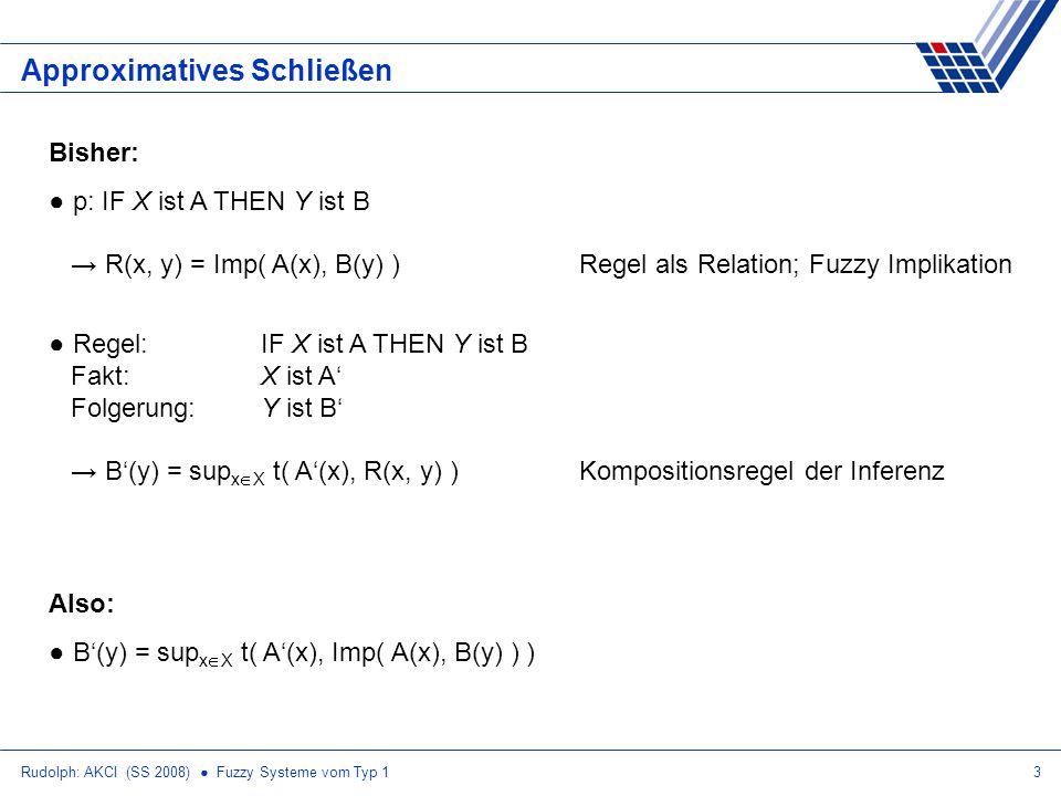 Rudolph: AKCI (SS 2008) Fuzzy Systeme vom Typ 13 Approximatives Schließen Bisher: p: IF X ist A THEN Y ist B R(x, y) = Imp( A(x), B(y) )Regel als Relation; Fuzzy Implikation Regel: IF X ist A THEN Y ist B Fakt:X ist A Folgerung:Y ist B B(y) = sup x X t( A(x), R(x, y) )Kompositionsregel der Inferenz Also: B(y) = sup x X t( A(x), Imp( A(x), B(y) ) )