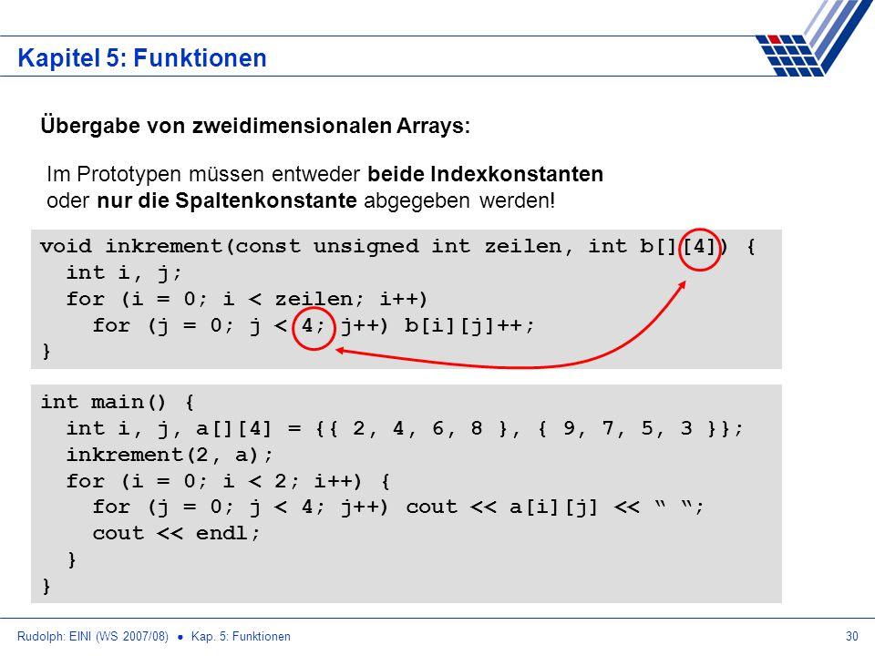 Rudolph: EINI (WS 2007/08) Kap. 5: Funktionen30 Kapitel 5: Funktionen Übergabe von zweidimensionalen Arrays: void inkrement(const unsigned int zeilen,