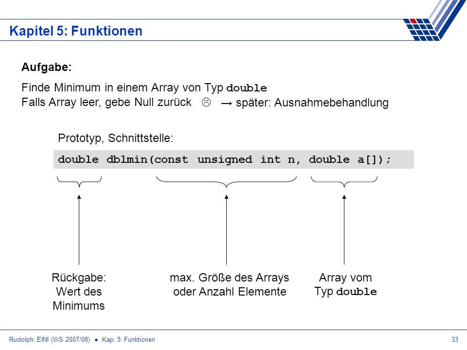 Rudolph: EINI (WS 2007/08) Kap. 5: Funktionen33 Kapitel 5: Funktionen Aufgabe: Finde Minimum in einem Array von Typ double Falls Array leer, gebe Null