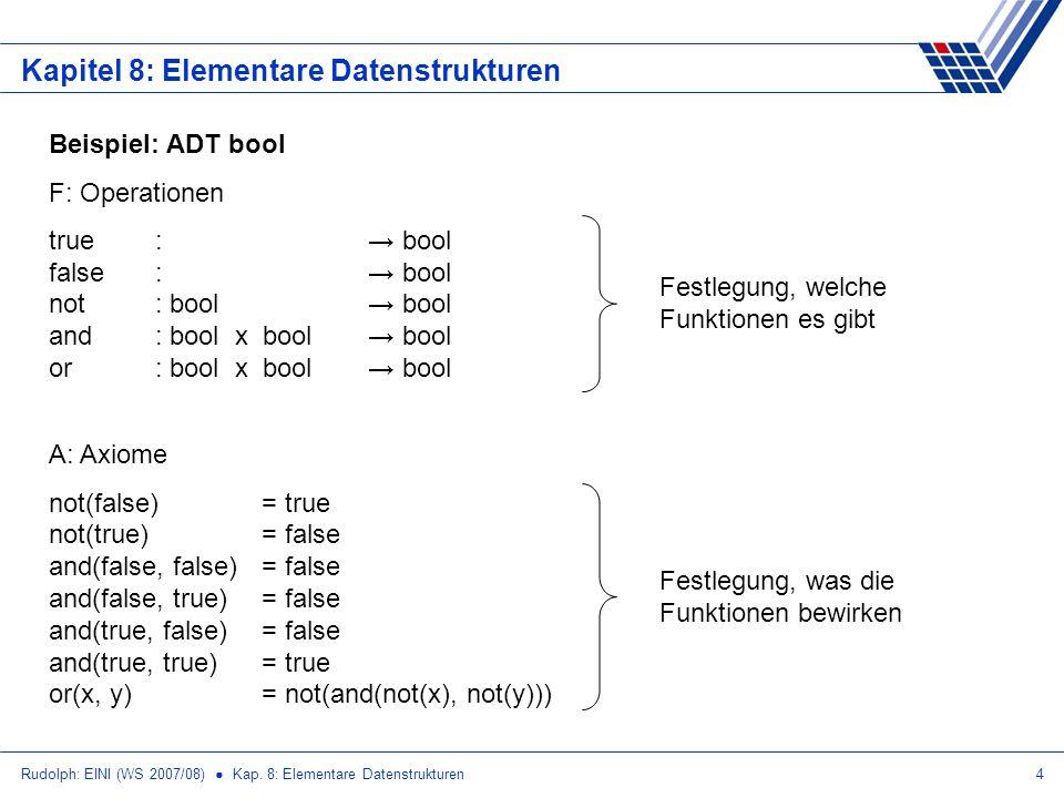 Rudolph: EINI (WS 2007/08) Kap. 8: Elementare Datenstrukturen4 Kapitel 8: Elementare Datenstrukturen Beispiel: ADT bool F: Operationen true: bool fals