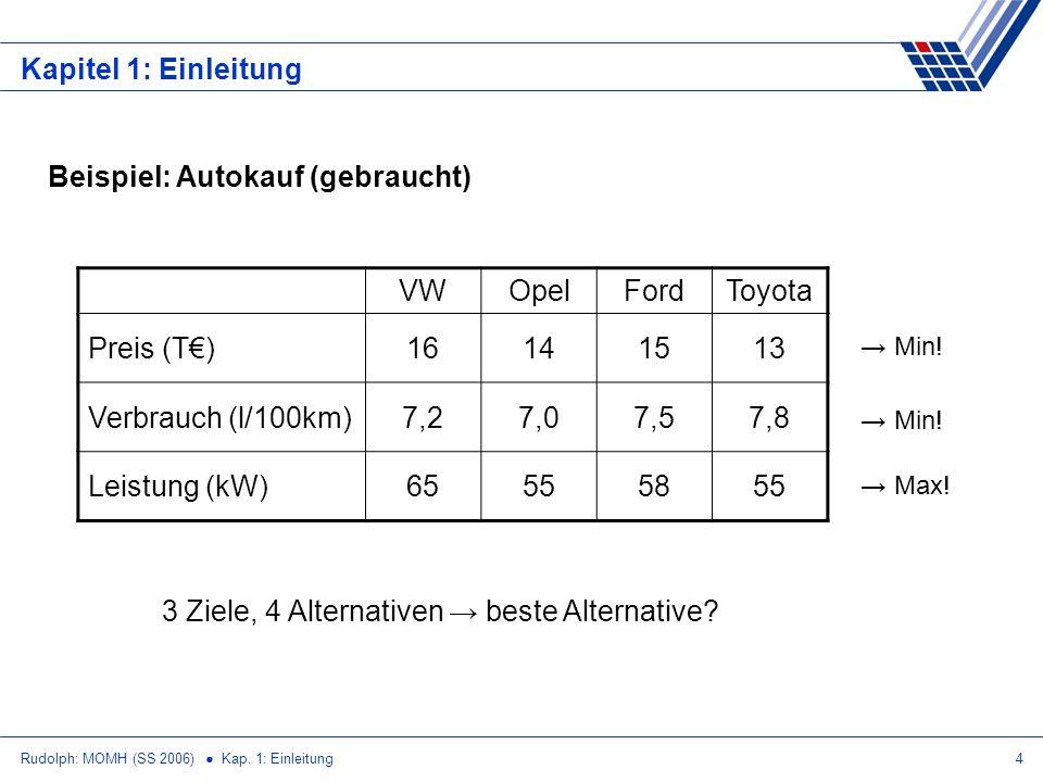 Rudolph: MOMH (SS 2006) Kap. 1: Einleitung4 Kapitel 1: Einleitung Beispiel: Autokauf (gebraucht) VWOpelFordToyota Preis (T)16141513 Verbrauch (l/100km