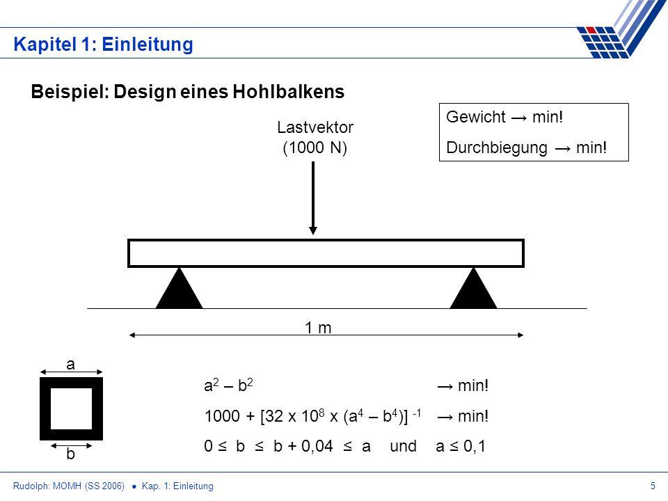 Rudolph: MOMH (SS 2006) Kap. 1: Einleitung5 Kapitel 1: Einleitung Beispiel: Design eines Hohlbalkens Lastvektor (1000 N) 1 m Gewicht min! Durchbiegung