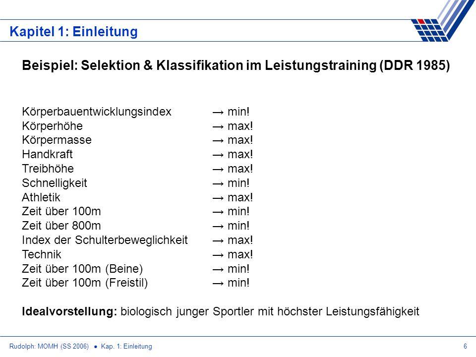 Rudolph: MOMH (SS 2006) Kap. 1: Einleitung6 Kapitel 1: Einleitung Beispiel: Selektion & Klassifikation im Leistungstraining (DDR 1985) Körperbauentwic