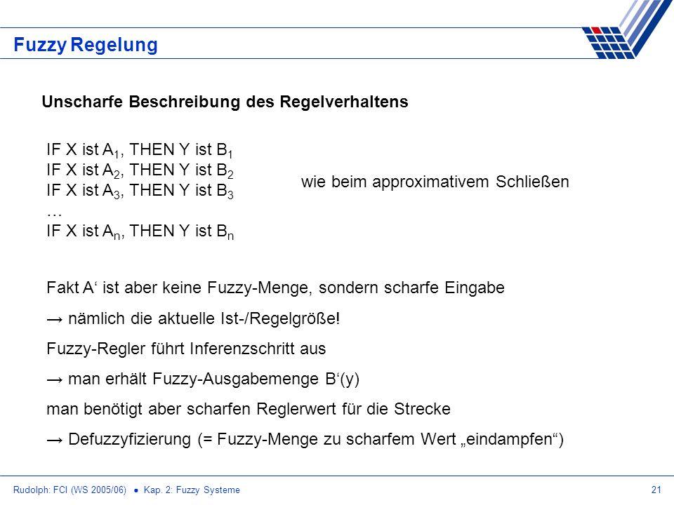 Rudolph: FCI (WS 2005/06) Kap. 2: Fuzzy Systeme21 Fuzzy Regelung Unscharfe Beschreibung des Regelverhaltens IF X ist A 1, THEN Y ist B 1 IF X ist A 2,