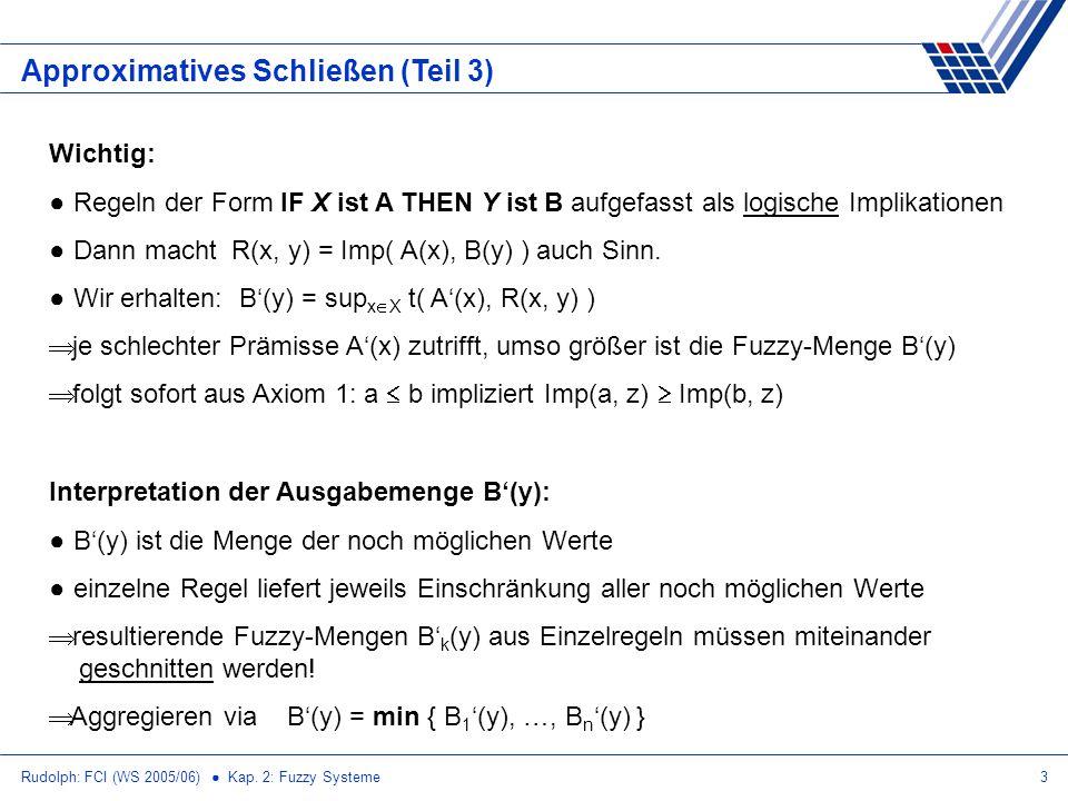 Rudolph: FCI (WS 2005/06) Kap. 2: Fuzzy Systeme3 Approximatives Schließen (Teil 3) Wichtig: Regeln der Form IF X ist A THEN Y ist B aufgefasst als log